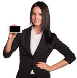 Beautiful women in suit showing smart phone Stock Photo