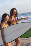 Beautiful Women Surfers & Surfboards At Beach Stock Photos