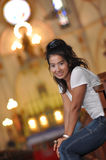 Beautiful Women Thailand Sit Church Stock Photography