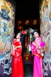 Beautiful women with traitional chinese dress Royalty Free Stock Images