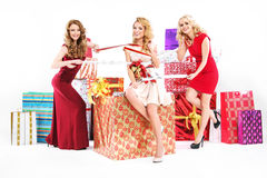 Beautiful women tucked in a ribbon Stock Image