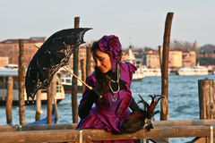 Beautiful women in Venice during carnival Stock Photography
