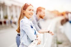 Beautiful woman waiting for his approach royalty free stock photo