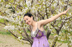 Beautiful women was blossoming garden Royalty Free Stock Photo
