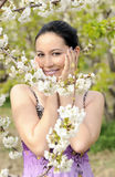 Beautiful women was blossoming garden Stock Images