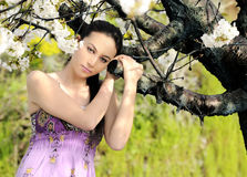 Beautiful women was blossoming garden Stock Photography