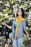 Beautiful women was blossoming garden Stock Image