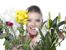 Beautiful women was blossoming garden Royalty Free Stock Photos