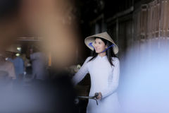 Beautiful women wearing Ao Dai dress traditional Vietnamese royalty free stock images