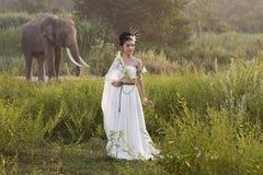 Beautiful women wearing white elephant village,Surin,Thailand Royalty Free Stock Image