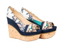 Beautiful womens shoes. Beautiful womens high platform shoes on white background stock image
