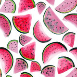 Beautiful wonderful bright colorful delicious tasty yummy ripe juicy cute lovely red summer fresh dessert slices of watermelon pai. Nt like a child watercolor stock illustration
