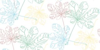 Beautiful wonderful graphic bright floral herbal autumn green, brown, yellow, blue maple chestnut leaves pattern vector illustrati. On. Perfect for textile royalty free illustration