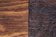 Beautiful wood background combined in light and dark tones. Ocher, brown, tan, golden and black. With a rustic appearance, veins and knots can be seen royalty free stock photography