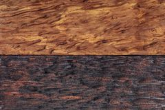 Beautiful wood background combined in light and dark tones ocher, brown, tan, golden and black. With a rustic appearance, veins and knots can be seen stock photo