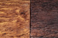 Beautiful wood background combined in light and dark tones ocher, brown, tan, golden and black. With a rustic appearance, veins and knots can be seen stock photos