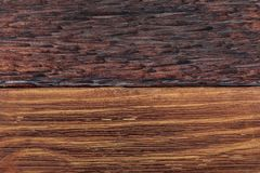 Beautiful wood background combined in light and dark tones ocher, brown, tan, golden and black. With a rustic appearance, veins and knots can be seen stock images
