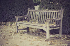 Wood bench in park, Paris, France Royalty Free Stock Photos
