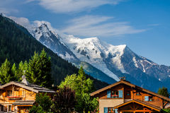 Beautiful wood chalet in Chamonix, France, Mont Blanc on a sunny Royalty Free Stock Images