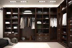 Beautiful wood horizontal wardrobe and walk in closet. 3d illustration stock photography