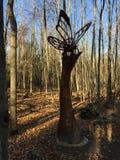 Beautiful wood sculpture. Wood sculpture beautiful sunshine forest Stock Image