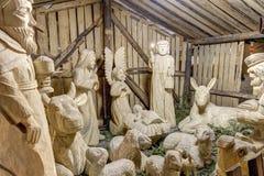 Beautiful wooden Bethlehem displayed at Olomouc Lower square (Dolni namesti) Stock Images