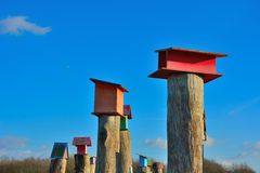 Beautiful wooden bird cage on a wooden pole Stock Images