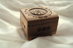 Beautiful wooden box for jewelry and ornaments, handmade Royalty Free Stock Image