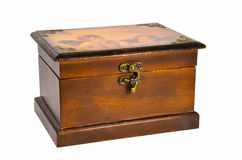 Beautiful wooden box with two angels. Beautiful brown wooden box with two angels stock photos
