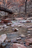 Beautiful wooden bridge crossing a river. Beautiful wooden bridge over the Virgin River in Zion's National Park, UT with red sandstone and bare trees Royalty Free Stock Photos