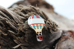Beautiful wooden brooch handmade jewelry Stock Image