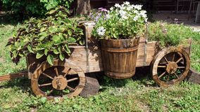 Beautiful wooden cart with flowers Stock Images