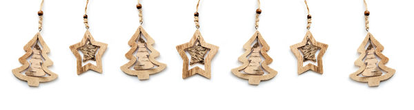 Beautiful wooden Christmas toys on a white background Royalty Free Stock Images