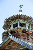 Beautiful wooden church with bell tower at summer day royalty free stock images