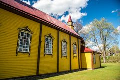 beautiful Wooden church in Silenai village, Lithuania Royalty Free Stock Photos