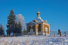 Beautiful wooden church in Volgoverkhovye Royalty Free Stock Photo