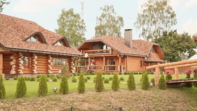 Beautiful wooden country house. Near city stock footage