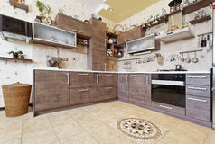 Beautiful wooden country style kitchen with decors Royalty Free Stock Photo