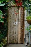 Beautiful wooden door. A mysterious wooden door in a greenhouse in Toronto Royalty Free Stock Photo