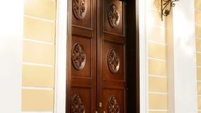 Beautiful wooden door stock footage