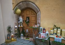 Beautiful wooden door with christmas decoration in the little center of Rattenberg, Tyrol, Austria stock images