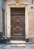 Beautiful wooden door, old architecture. Stock Photo