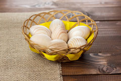 Beautiful wooden Easter eggs Royalty Free Stock Images