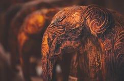 Beautiful wooden elephants Stock Photo