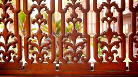 Beautiful wooden fence with ornaments. Macro video stock video footage