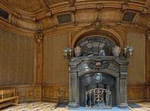 Wooden fretted lobby with fireplace of Scientists` House in Lviv, Ukraine. Beautiful wooden fretted lobby with fireplace of the Scientists` House in Lviv stock images