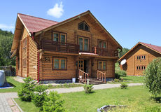 Beautiful wooden house in the mountains. Altai. Russia Royalty Free Stock Images