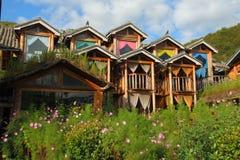 Beautiful wooden house and pink Cosmos bipinnatus in Yunnan province, China.  Royalty Free Stock Image