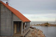 Beautiful wooden house at the seashore Royalty Free Stock Photos