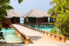Beautiful wooden houses in Maldives Stock Images